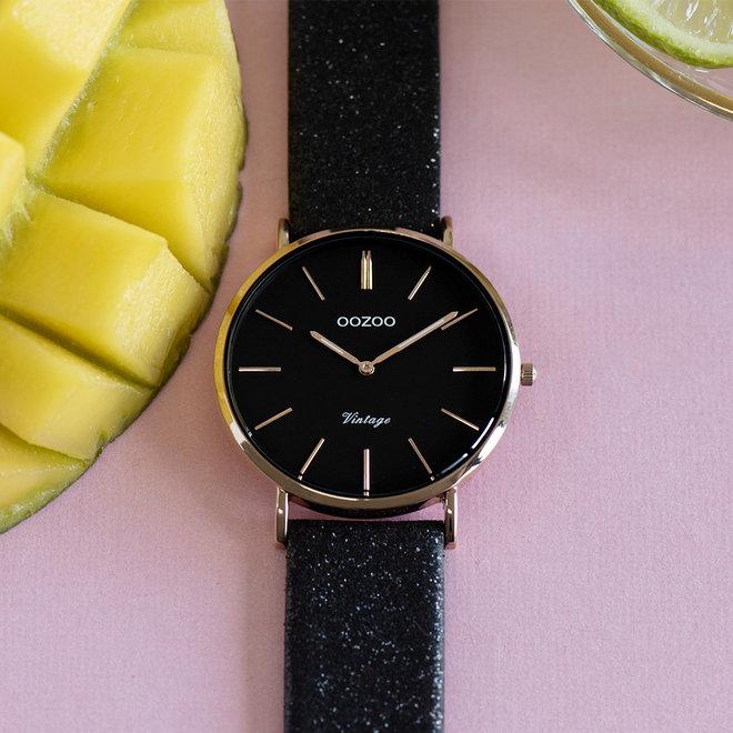 OOZOO Vintage - C20154 - Damen - Leder-Glitzer-Armband - Schwarz/Rose