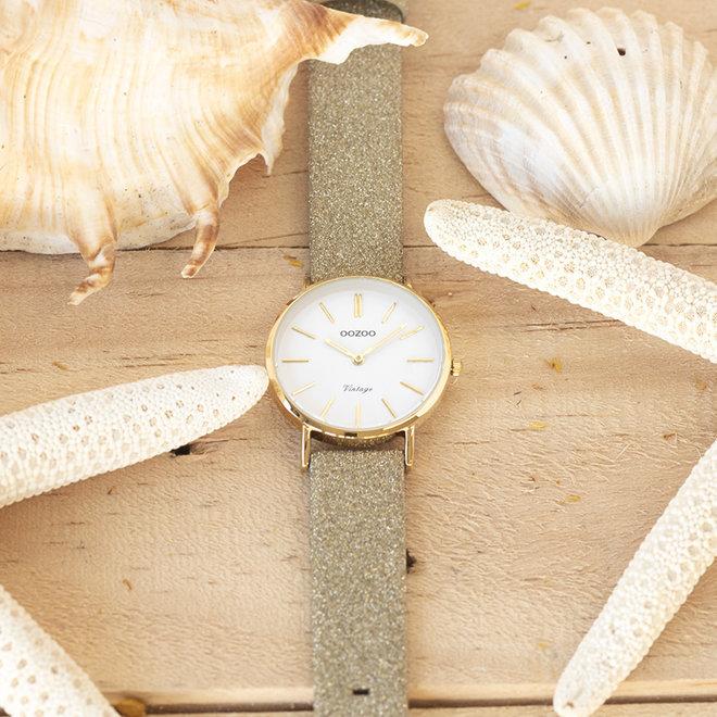 OOZOO Vintage - C20156 -  Damen - Leder-Glitzer-Armband - Gold/Gold