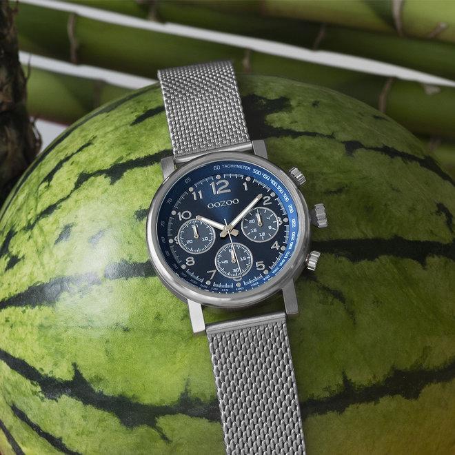 OOZOO Timepieces - C10700 - Unisex - Mesh-Armband - Silber/Blau