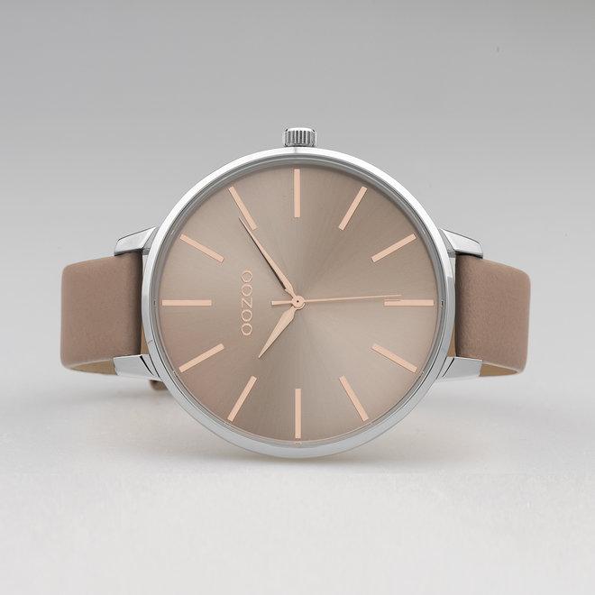 OOZOO Timepieces - C10711 - Damenuhr - Leder-Armband - Pinkgrau/Silber
