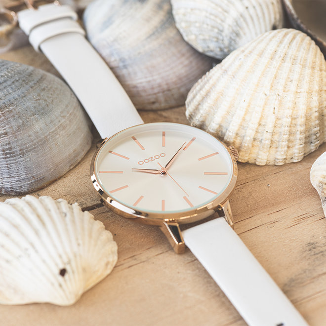 OOZOO Timepieces - C10710 - Damenuhr - Leder-Armband - Weiß/Roségold