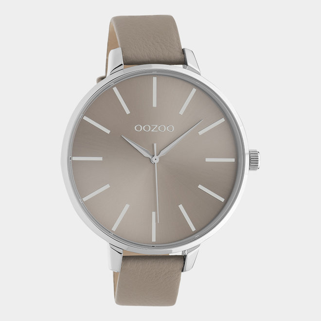 OOZOO Timepieces - C10712 - Damenuhr - Leder-Armband - Taupe/Silber