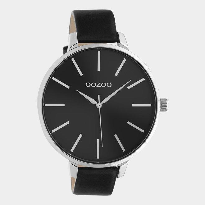 OOZOO Timepieces - C10714 - Damenuhr - Leder-Armband  - Schwarz- Silber