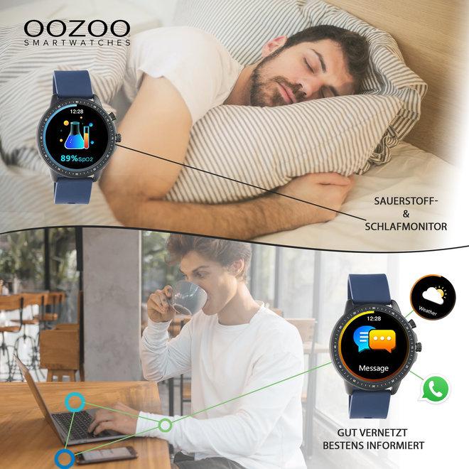 OOZOO Smartwatches - Unisex - Silikon-Armband - Steingrau/Silber