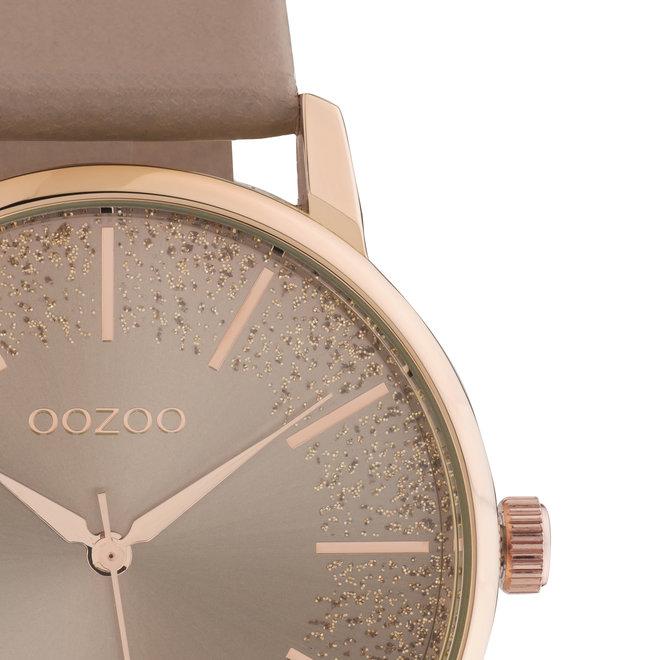 OOZOO Timepieces - C10716 - Damenuhr - Leder-Armband  - Taupe/Roségold