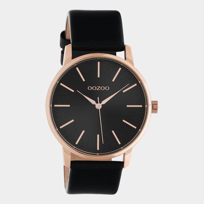 OOZOO Timepieces - C10719 - Damenuhr - Leder-Armband  - Schwarz/Roségold