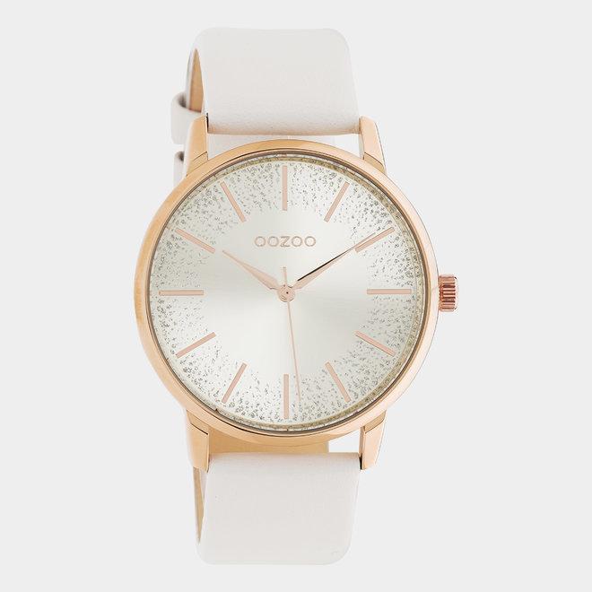 OOZOO Timepieces - C10715 - Damenuhr - Leder-Armband  - Weiß/Roségold