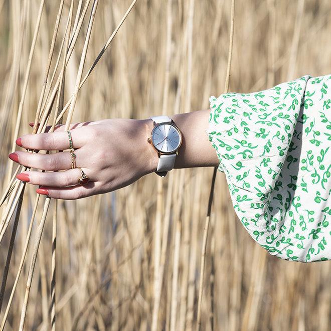 OOZOO Timepieces - C10720 - Damen- Lederarmband - Weiß/Rosé