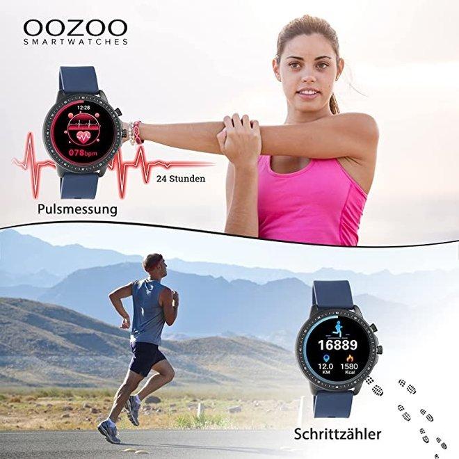 OOZOO Smartwatches - Unisex - Silikon-Armband - Weiß/Silber