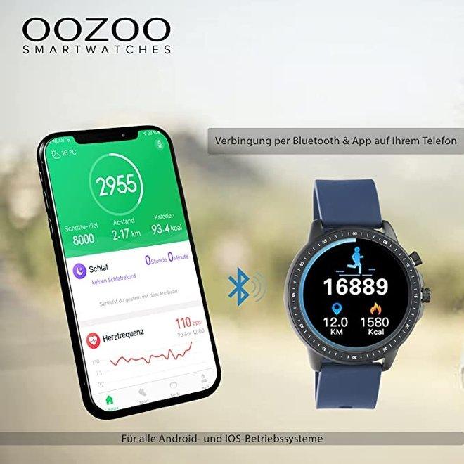 OOZOO Smartwatches - Unisex - Silikon-Armband - Schwarz/Silber