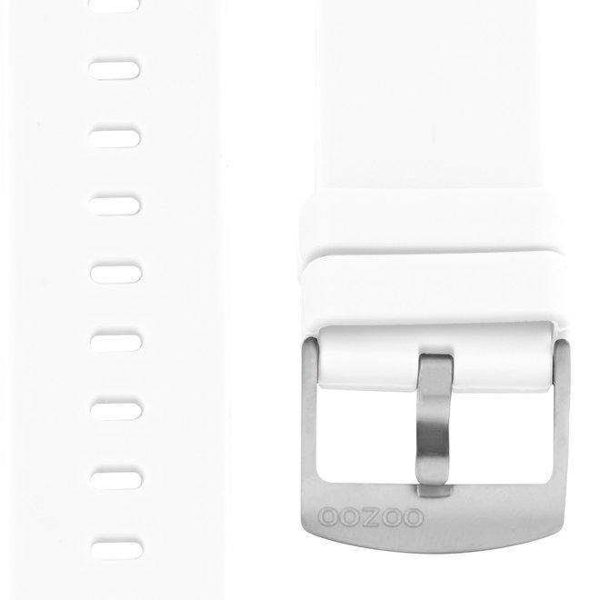OOZOO - Silikon-Armband -  20mm - Weiß/Silber