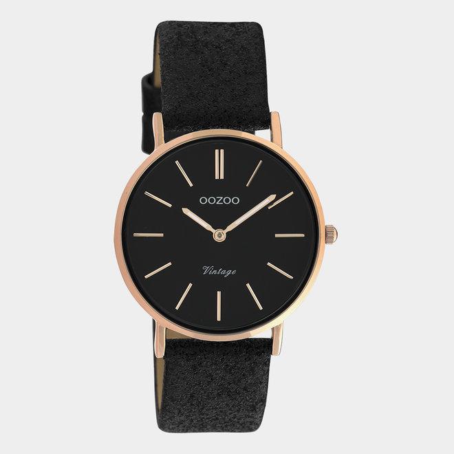 OOZOO Vintage - C20159 - Damen - Leder-Glitzer-Armband  Schwarz/Roségold