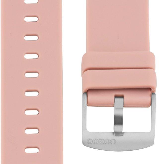 OOZOO - Silikon-Armband -  20mm -  Pinkgrau/Silber