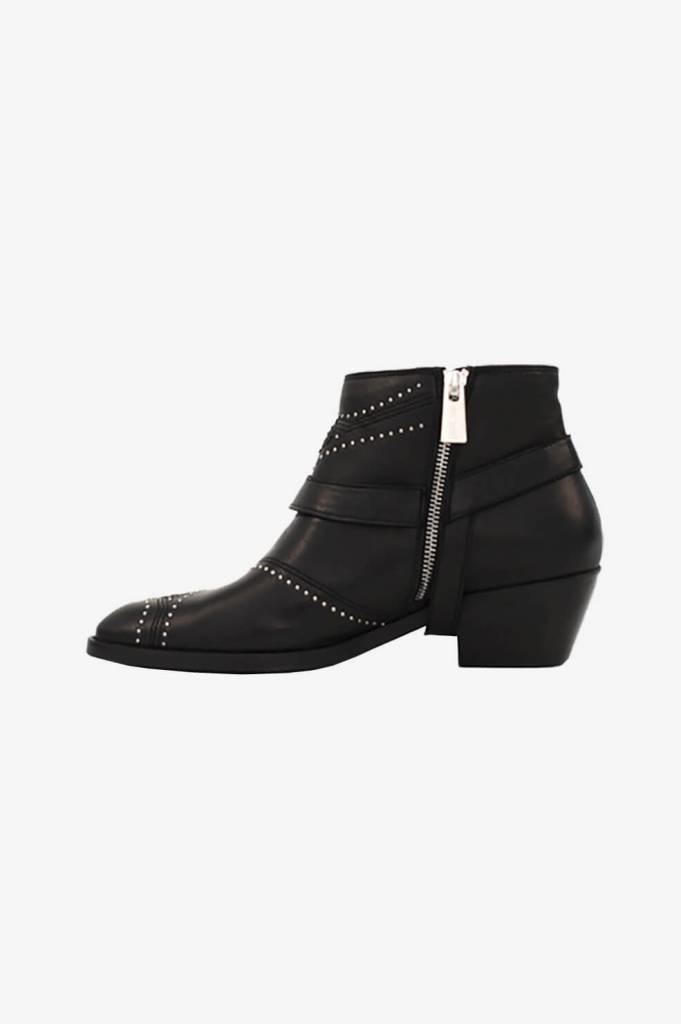 Bianca Boots - Black with Gunmetal Studs-5