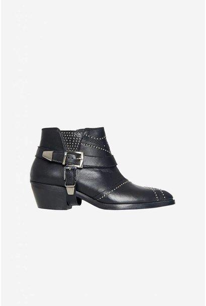 Bianca Boots - Black with Gunmetal Studs