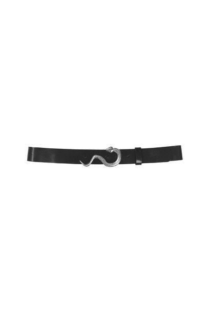 Gwen Leather Belt - Black/Silver