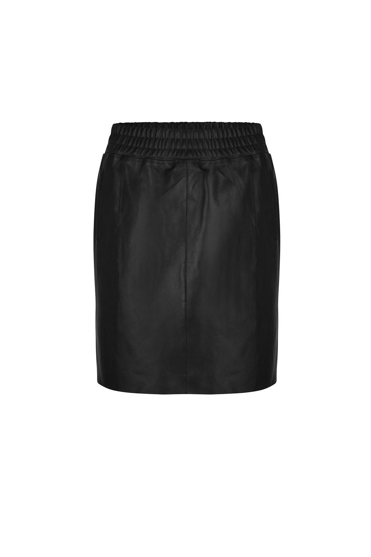 Eshvi Leather Skirt - Raven-1