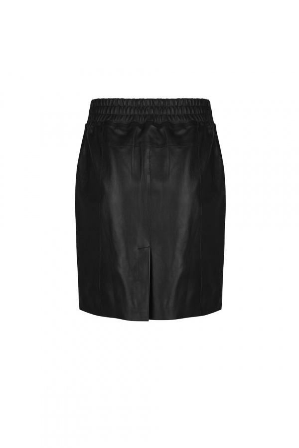 Eshvi Leather Skirt - Raven-3