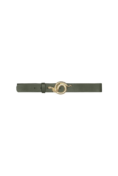 Milo Leather Belt - Army/Gold