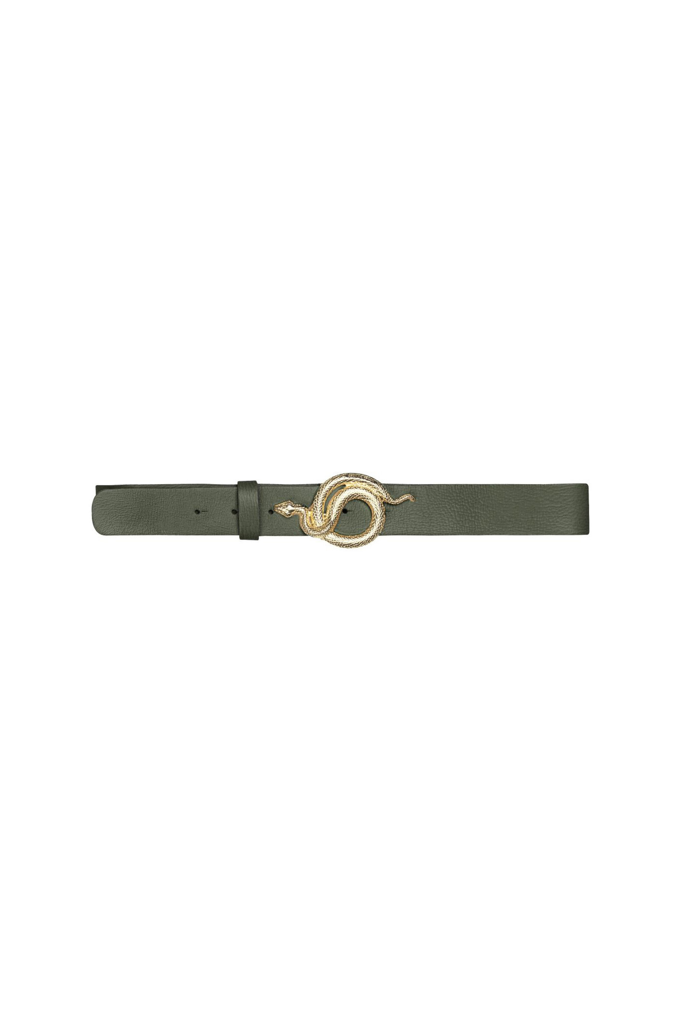 Milo Leather Belt - Army/Gold-1