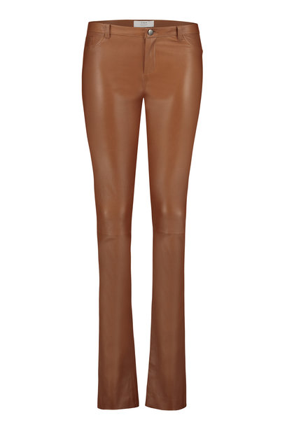 Smoke Topaz Leather Pants - Cognac