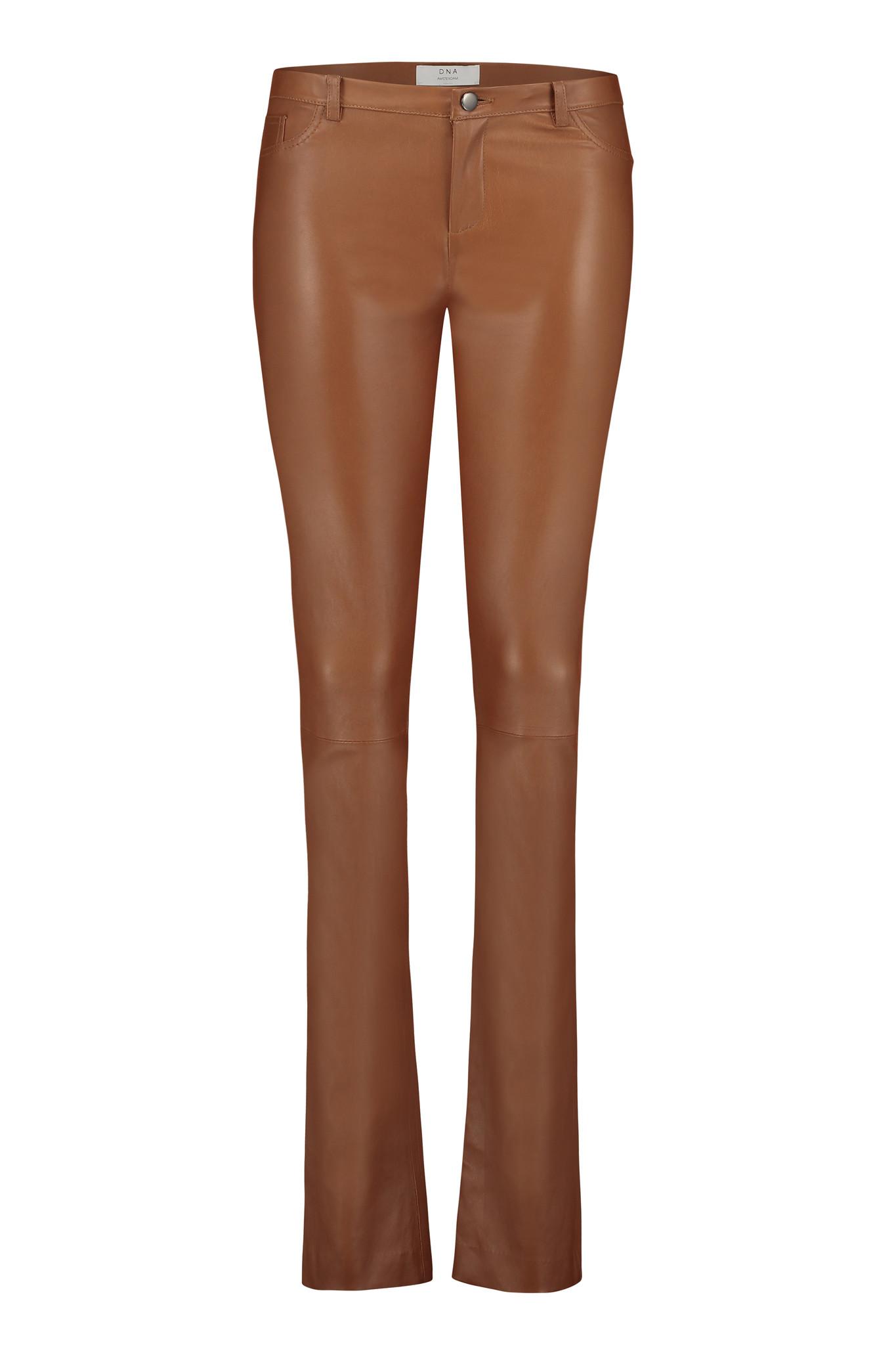 Smoke Topaz Leather Pants - Cognac-1