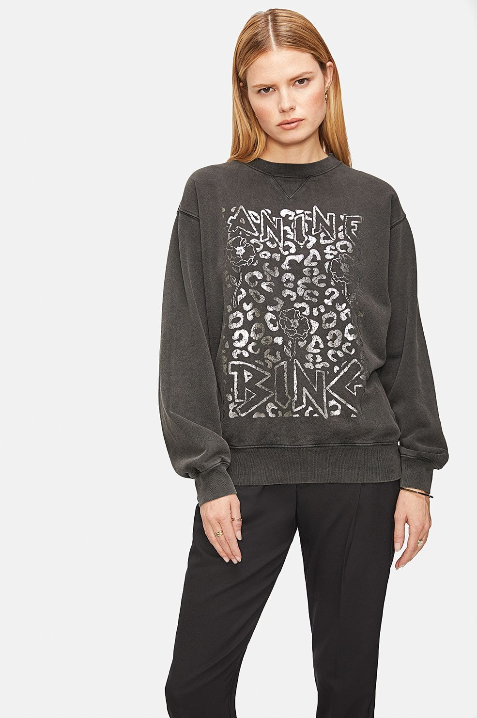 Ramona Leopard Sweatshirt - Washed Black-2