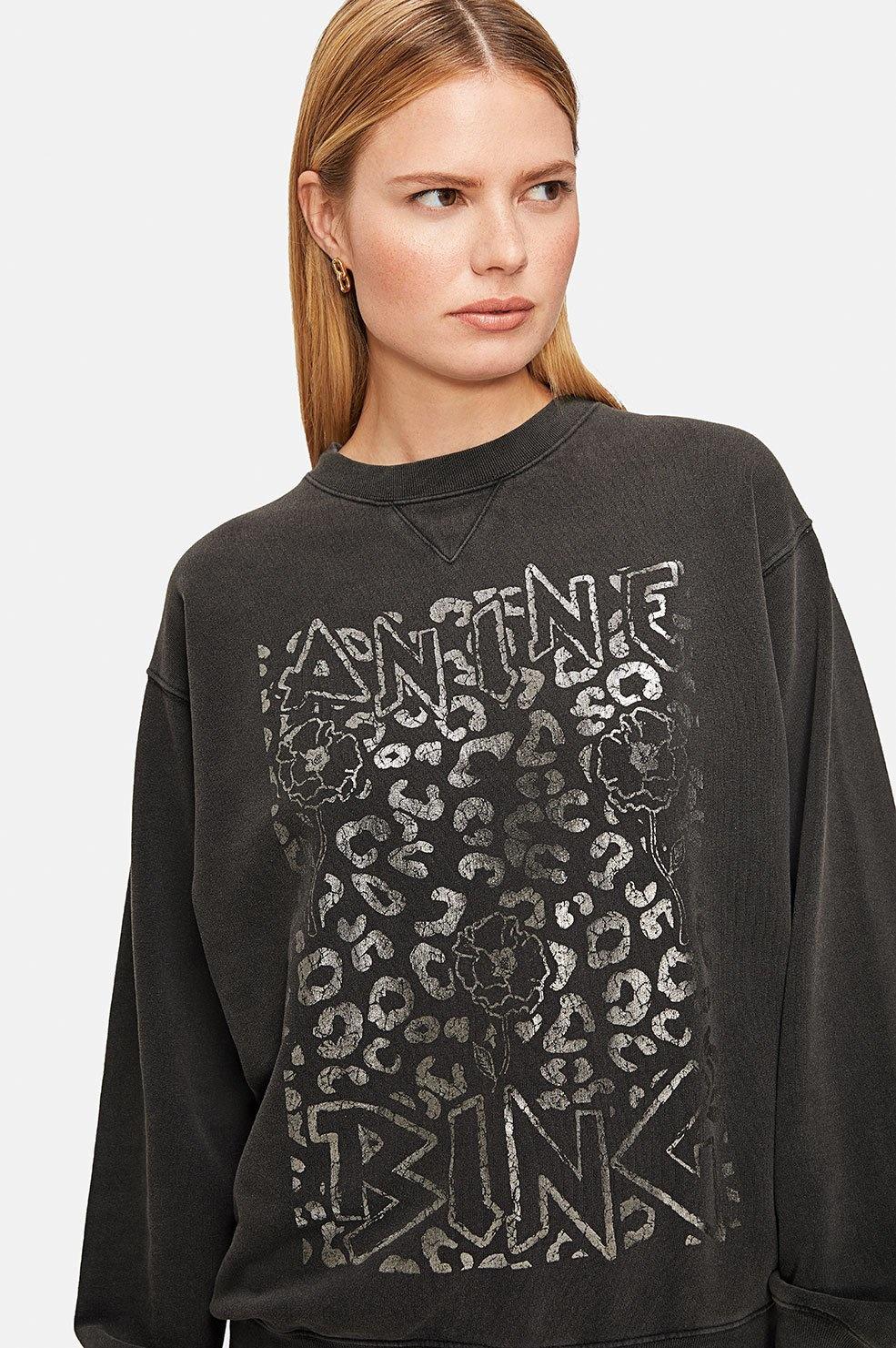 Ramona Leopard Sweatshirt - Washed Black-6