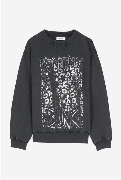 Ramona Leopard Sweatshirt - Washed Black