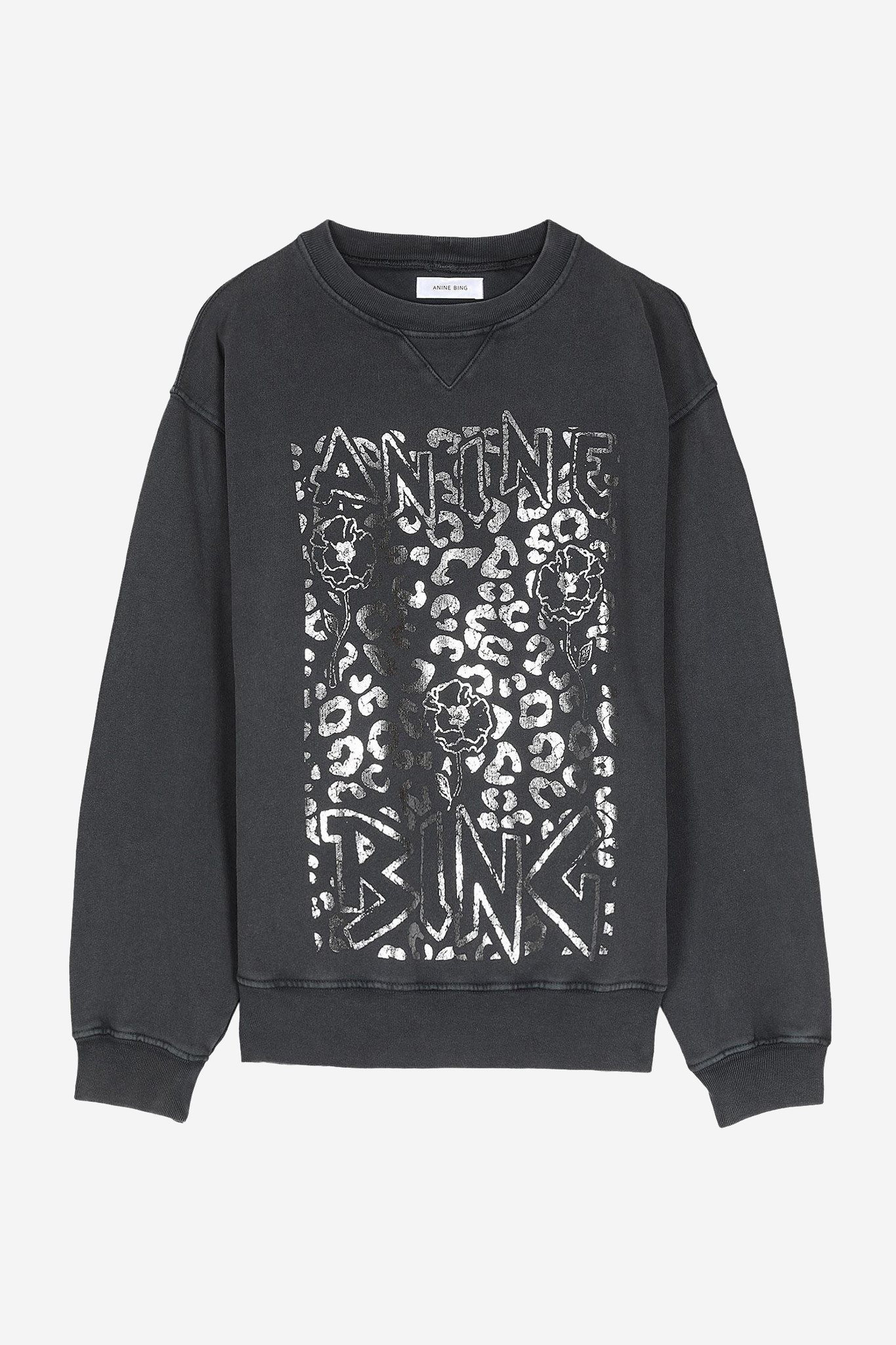 Ramona Leopard Sweatshirt - Washed Black-7