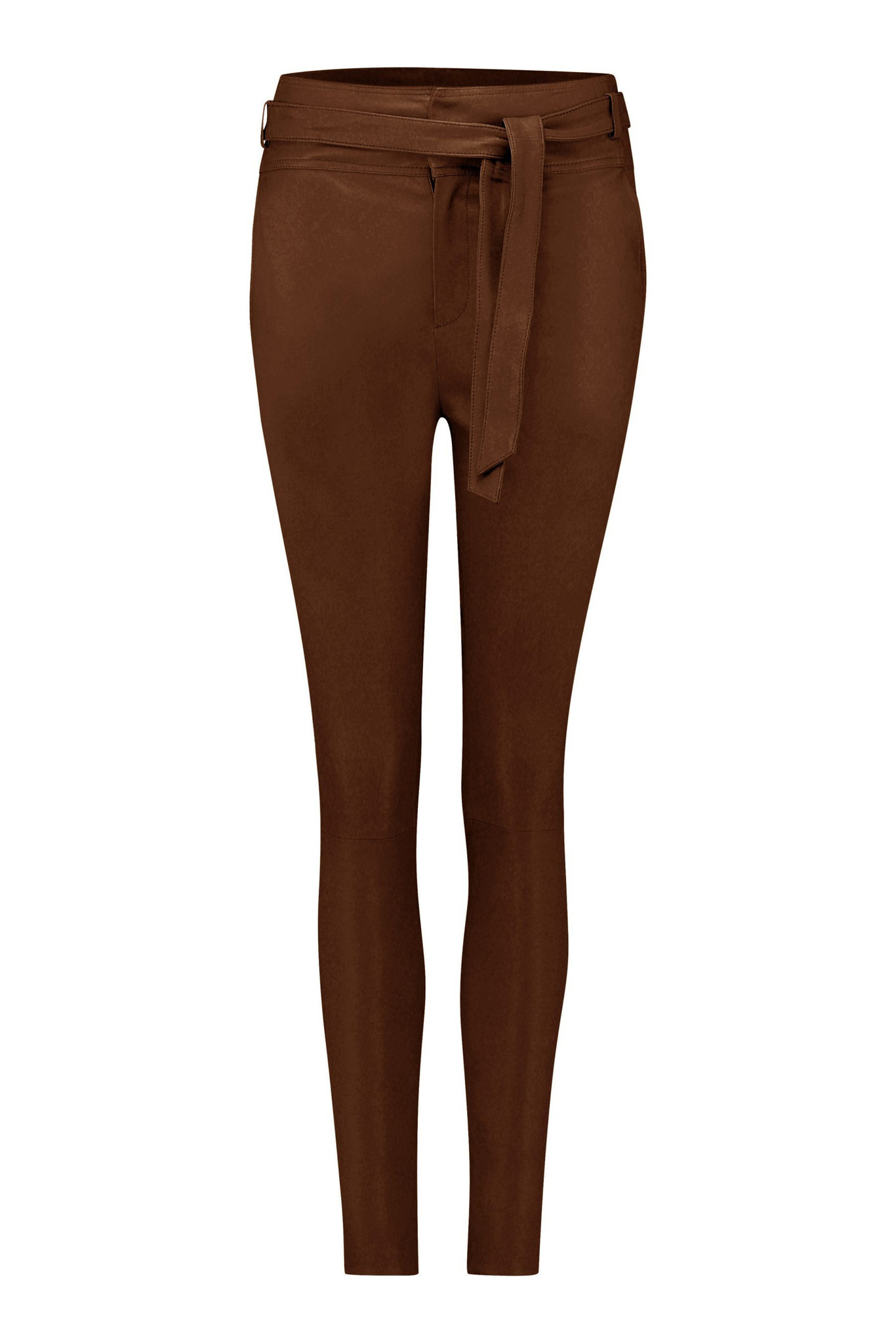 Ann Leather Pant - Brown-1