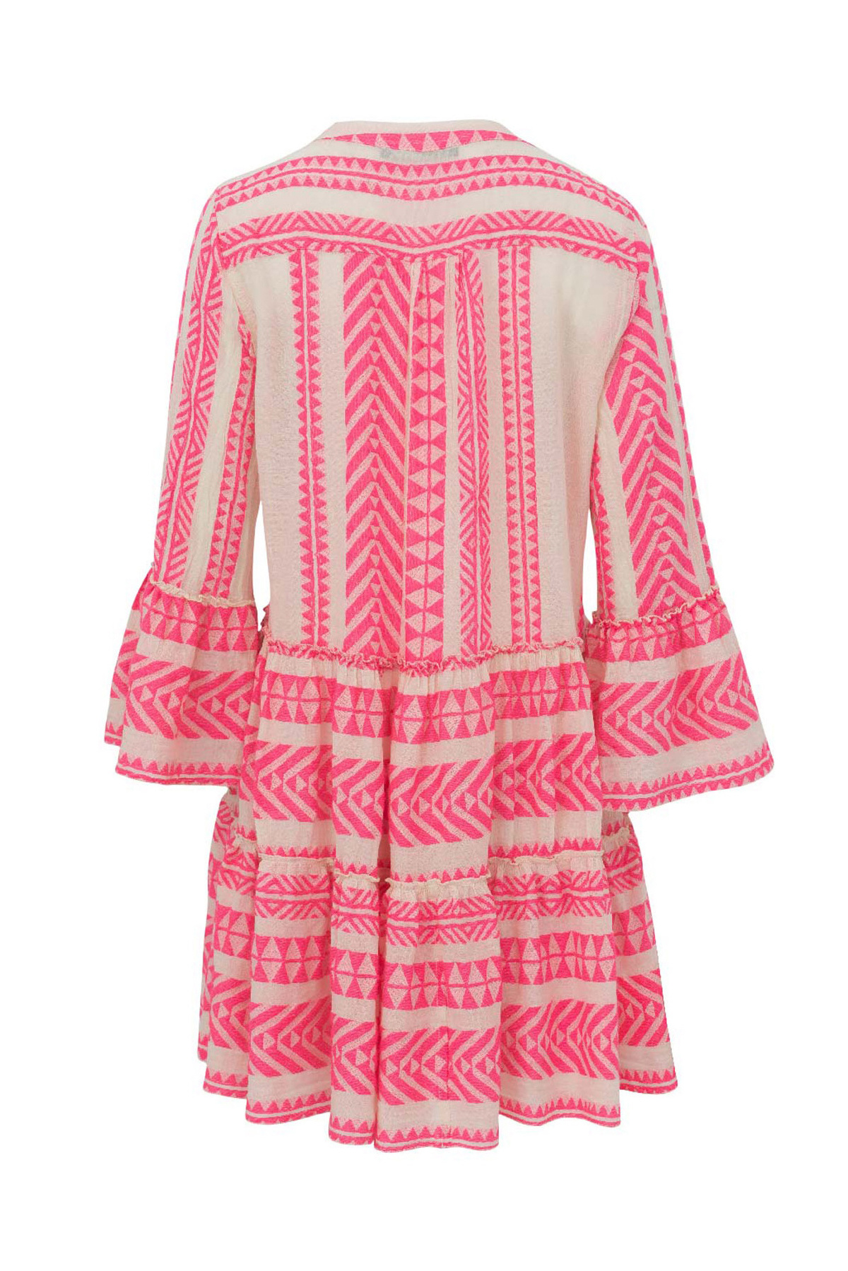 Ella Short Dress - Off White / Neon Pink-4