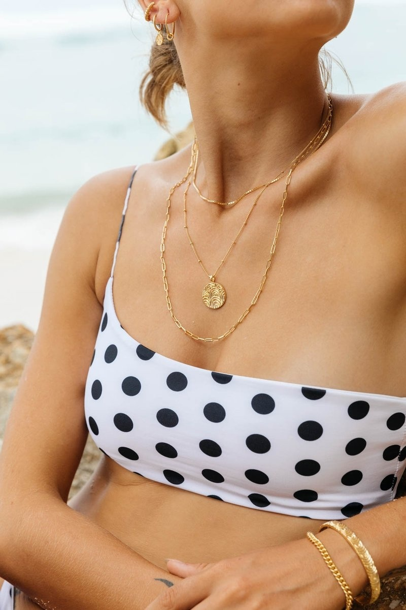 Stud Chain Necklace - Gold-5
