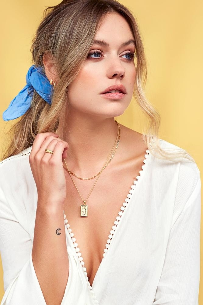 Square Necklace - Gold-7