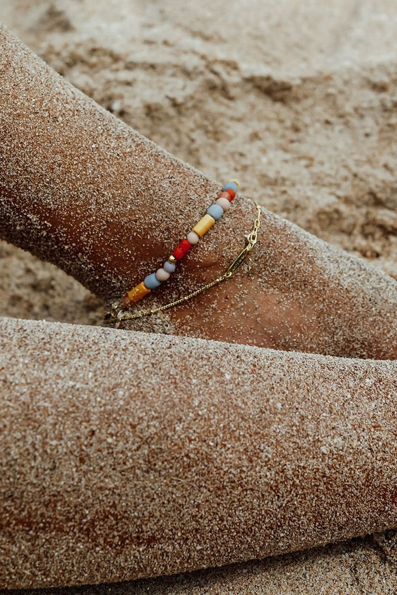 Stud Chain Anklet - Gold-5