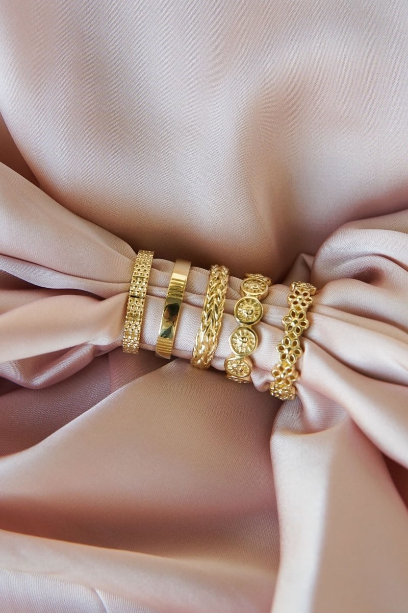 Five Lines Ring - Gold-3