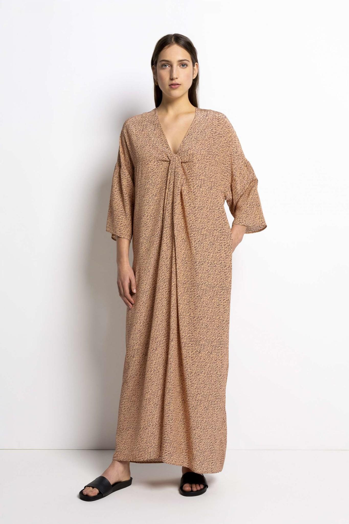 Bless Print Dress - Apricot-3