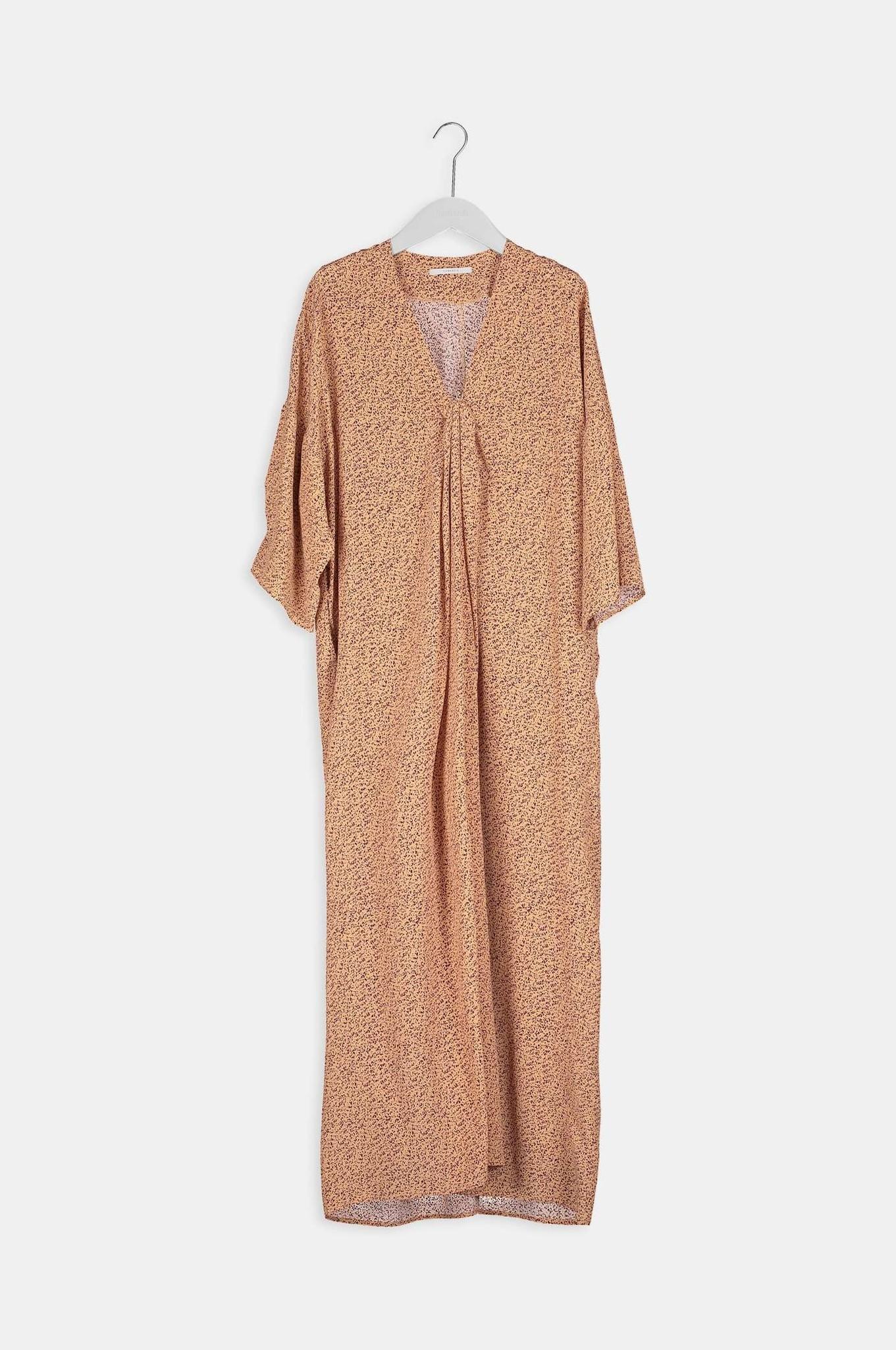 Bless Print Dress - Apricot-5
