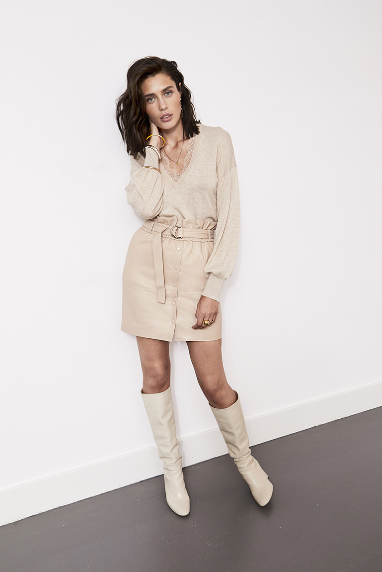 Couric Leather Skirt - Warm Sand-2