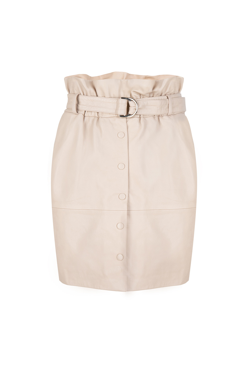 Couric Leather Skirt - Warm Sand-1