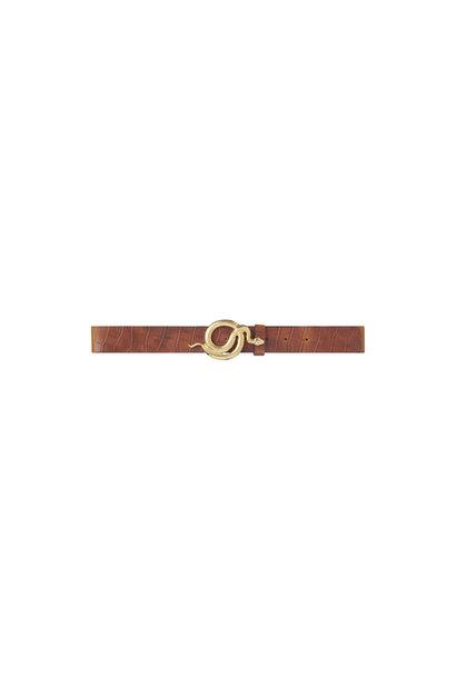Milo Leather Belt Croco - Gold