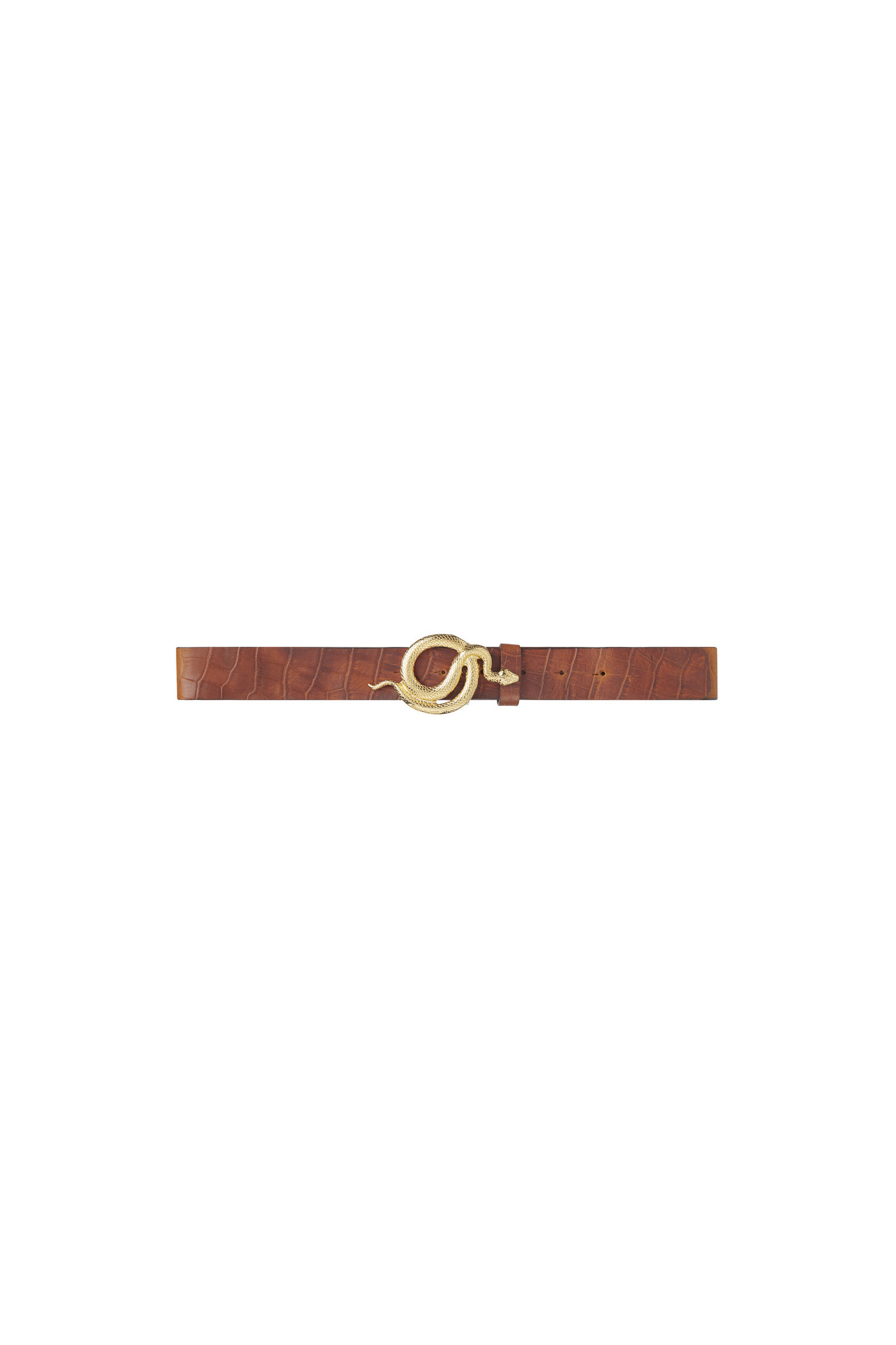 Milo Leather Belt Croco - Gold-1