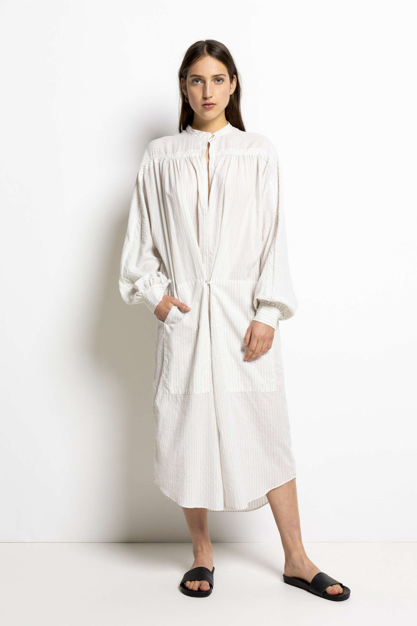 Nio Stripe Dress - Milk White-1