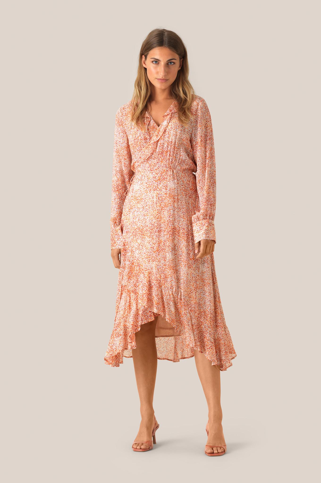 Floral LS Wrap Dress - Apricot Brandy-2
