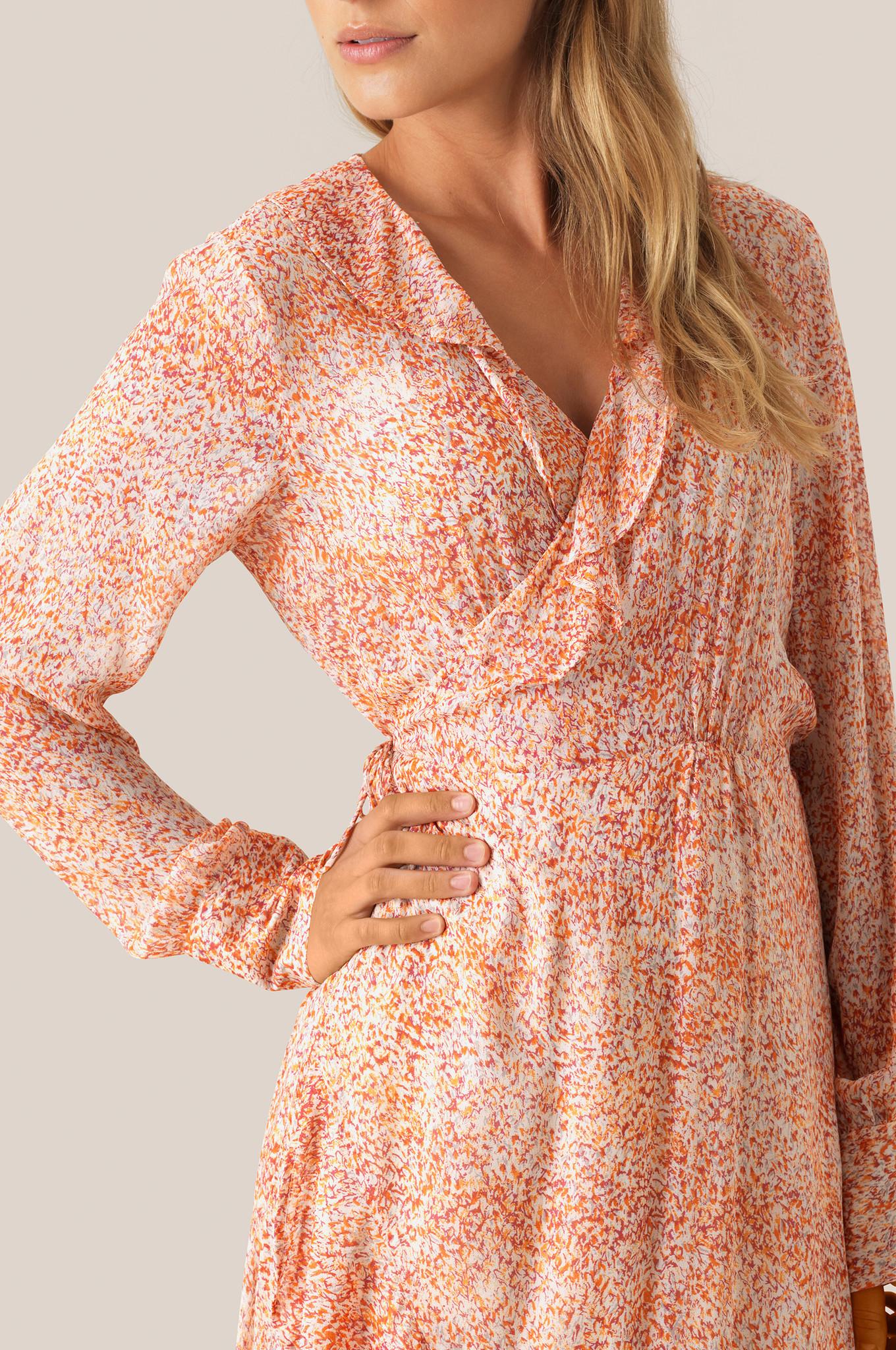 Floral LS Wrap Dress - Apricot Brandy-3