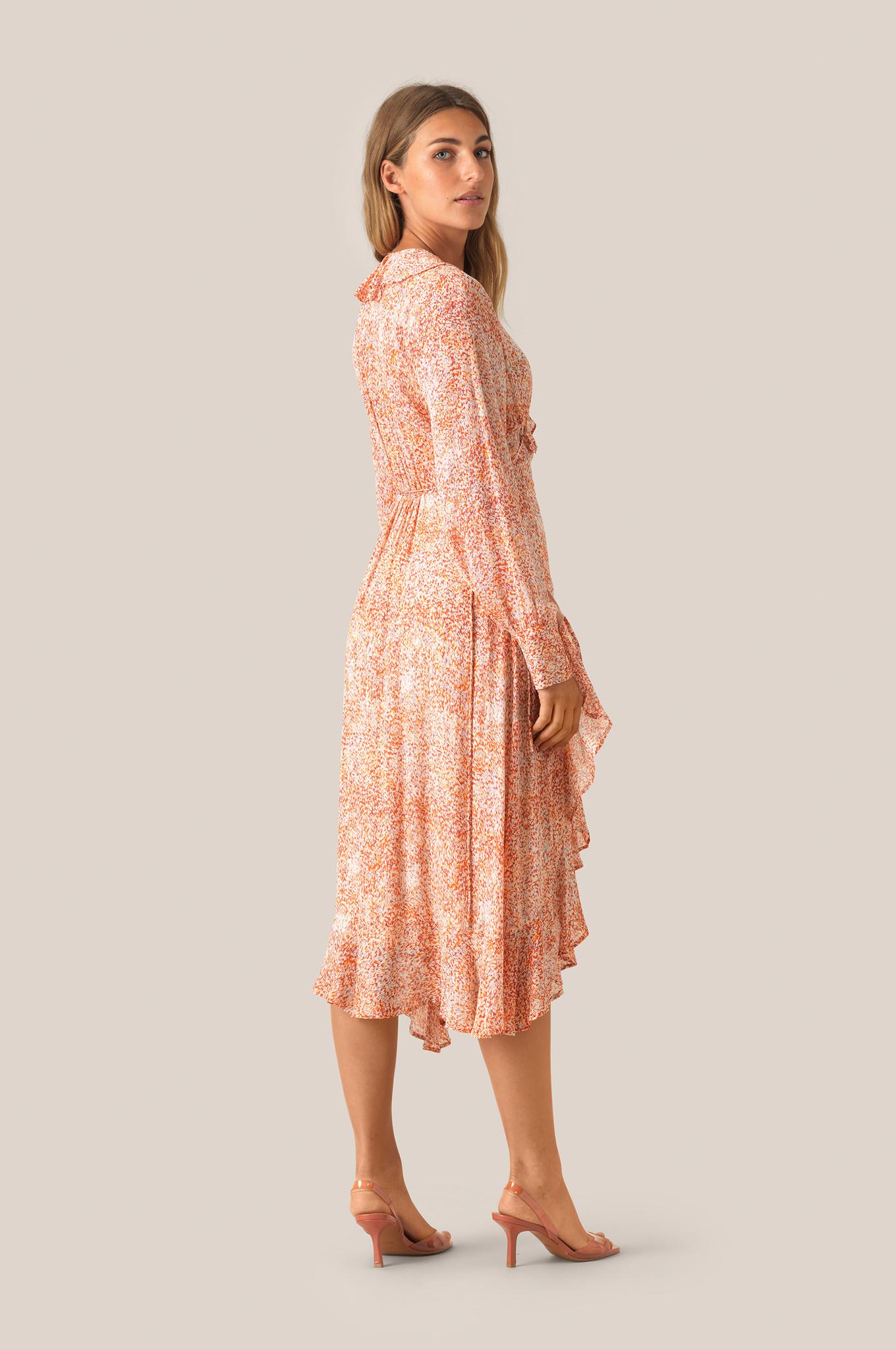 Floral LS Wrap Dress - Apricot Brandy-4