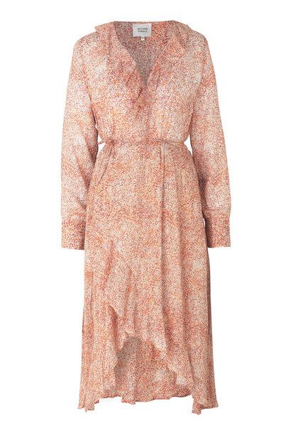 Floral LS Wrap Dress - Apricot Brandy