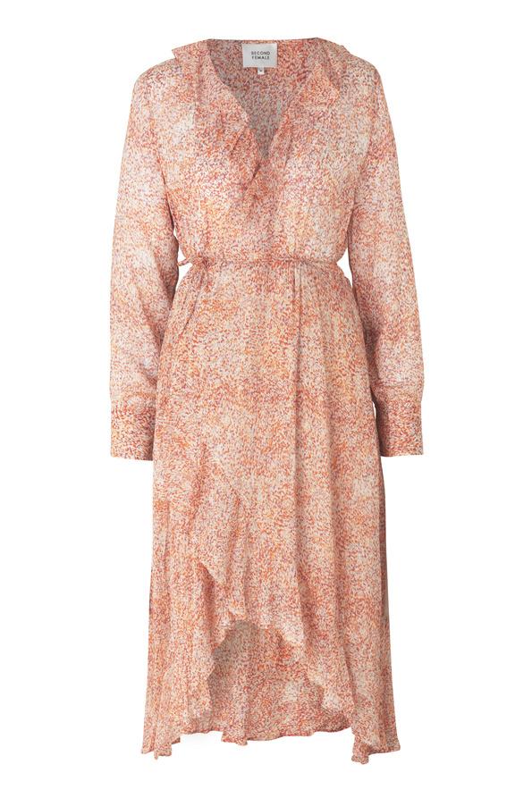 Floral LS Wrap Dress - Apricot Brandy-1