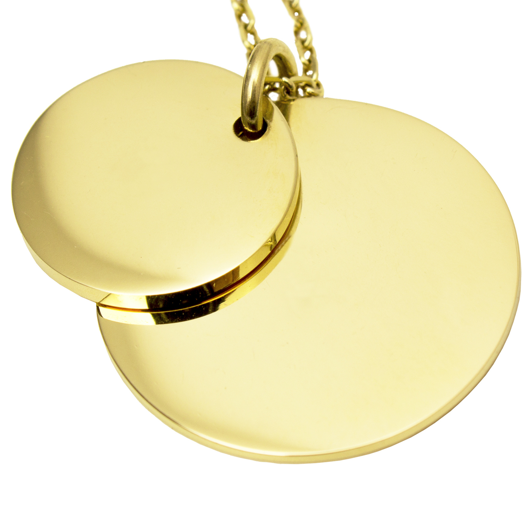 Double Coin Necklace - Gold-3
