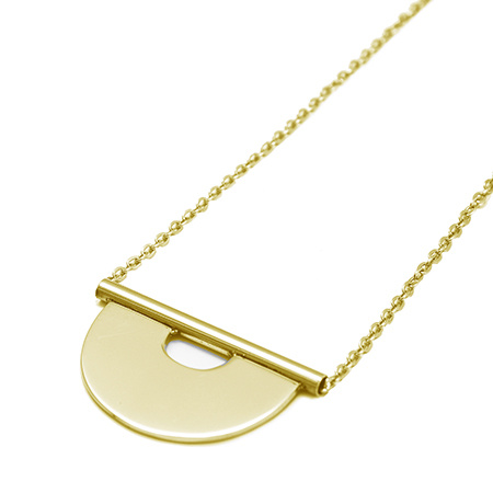 Round Tube Necklace - Gold-2